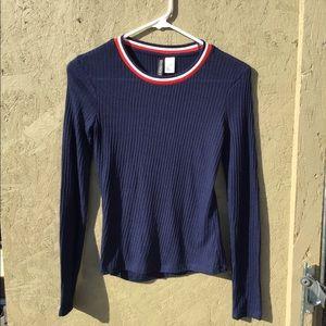 H & M Navy Ribbed Long Sleeved T Shirt